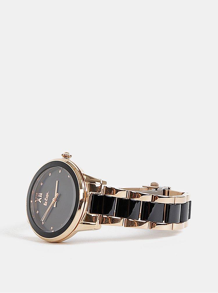 Dámske hodinky s kovovým remienkom v čiernej a zlatej farbe Lee Cooper