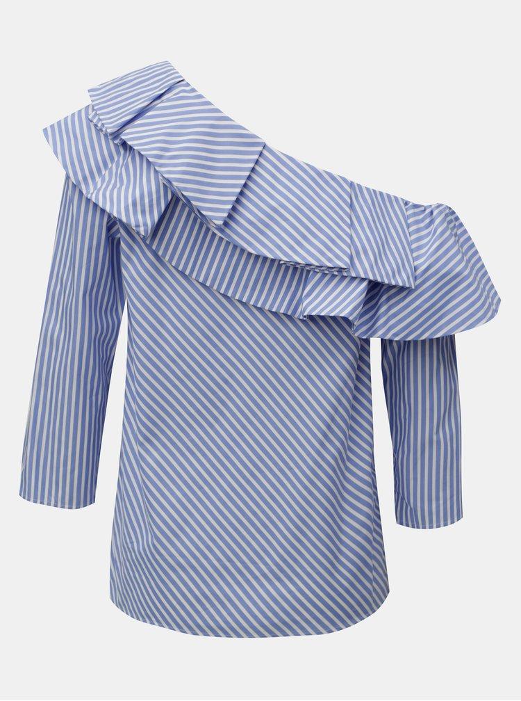 Bluza alb-albastru in dungi cu umar gol Rich & Royal
