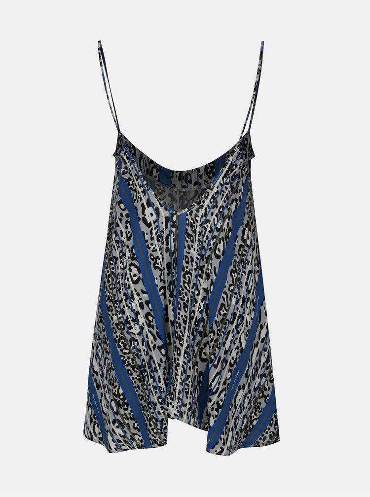 Modrý top na ramínka s leopardím vzorem Fornarina Jenny