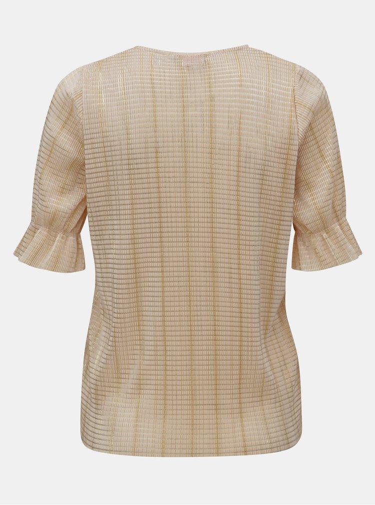 Béžové metalické rebrované tričko Dorothy Perkins Petite
