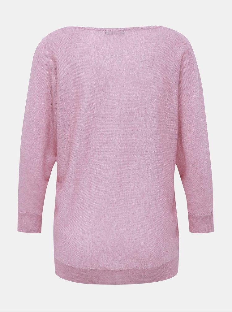 Růžový lehký svetr s 3/4 rukávem M&Co