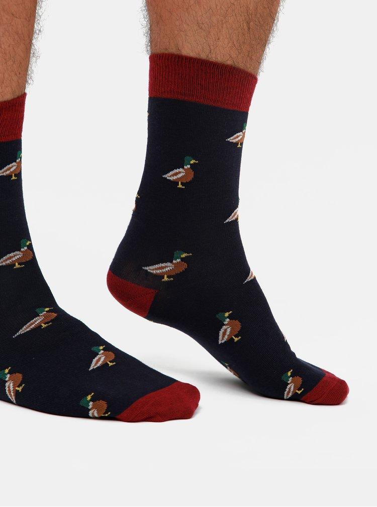 Sada piatich párov vzorovaných ponožiek vo vínovej, hnedej a modrej farbe M&Co