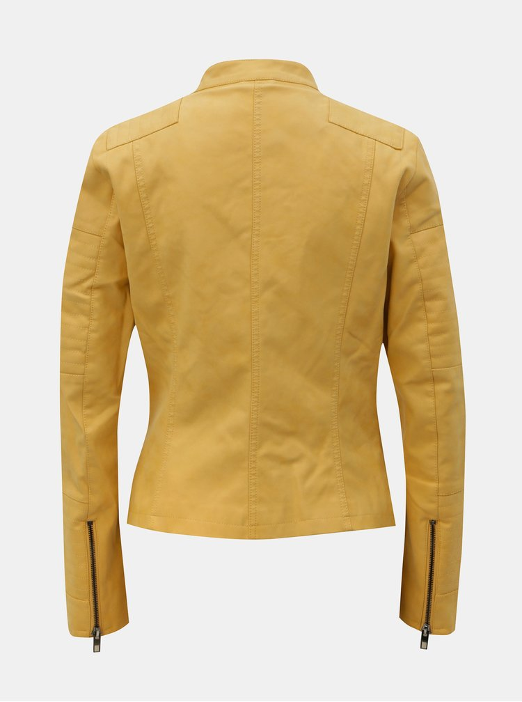 Žltá koženková bunda ONLY Ava