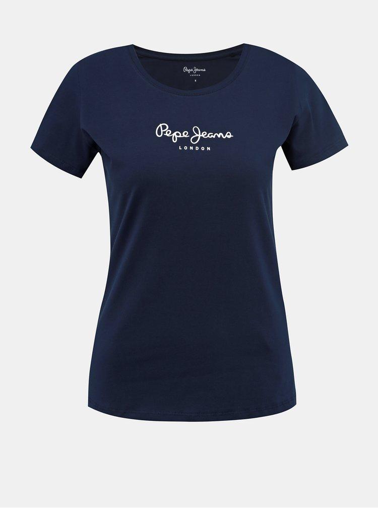 Tmavě modré dámské tričko s potiskem Pepe Jeans New Virginia