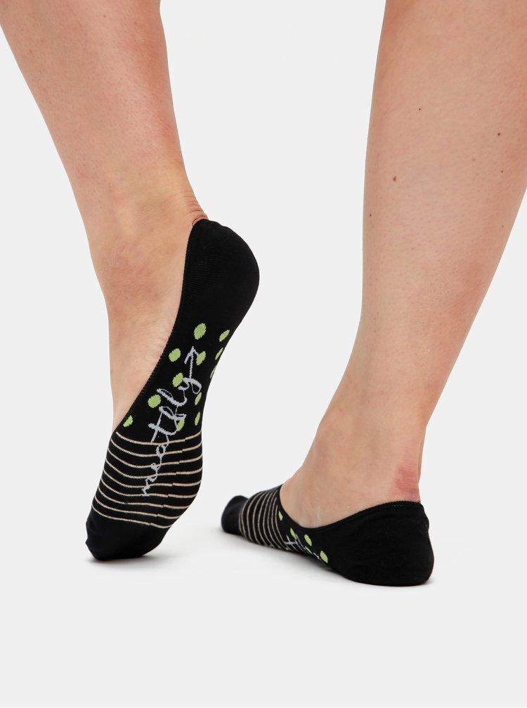 Sada tří párů dámských nízkých ponožek v šedé a černé barvě Meatfly