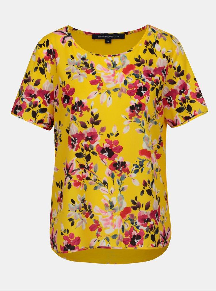 Bluza asimetrica galbena cu print floral French Connection Linosa