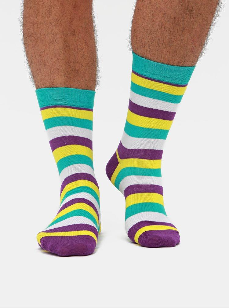 Sada tří párů pruhovaných ponožek v zelené a modré barvě Meatfly