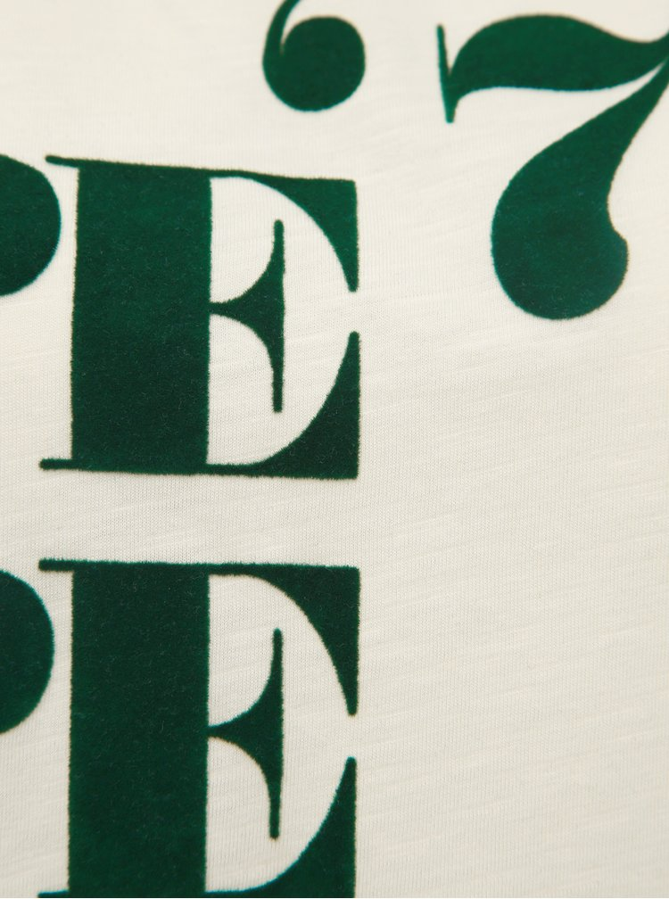Krémové dámské tričko s potiskem Pepe Jeans Mia