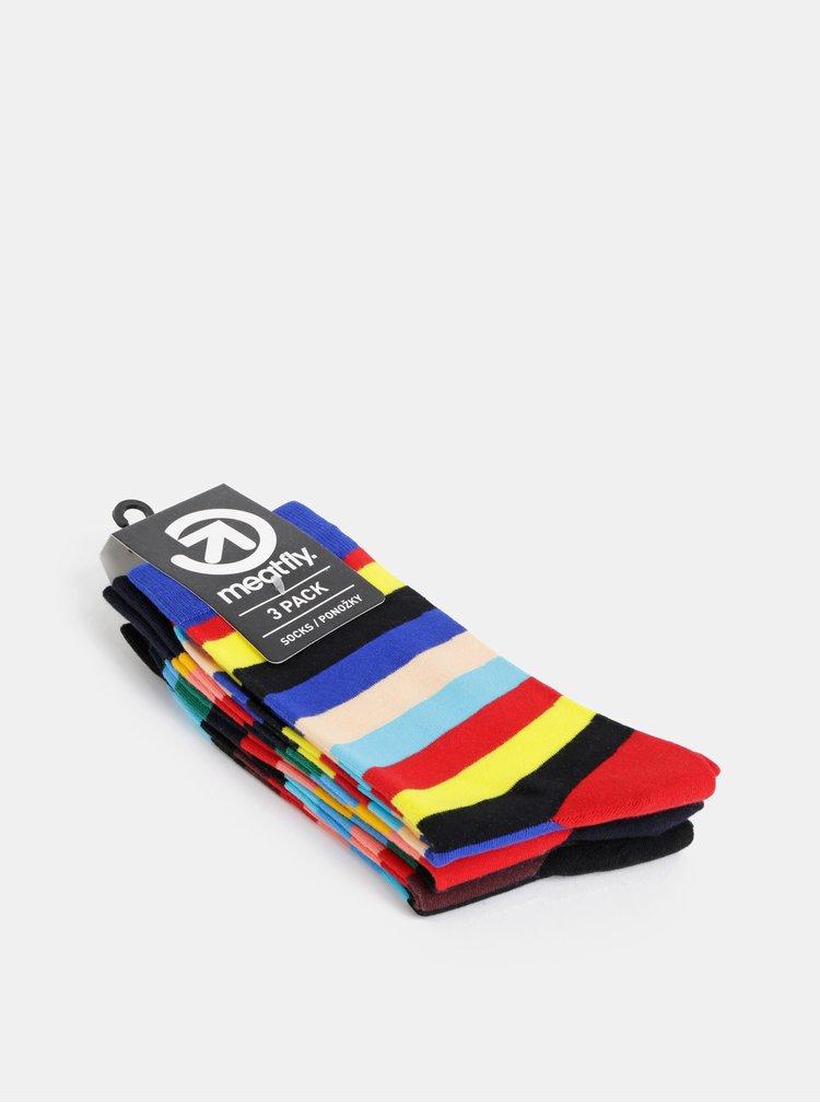 Sada troch párov pruhovaných ponožiek v čiernej, modrej a červenej farbe Meatfly