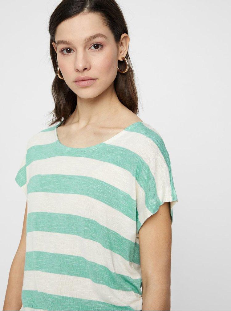 Krémovo-zelené pruhované tričko VERO MODA Wide