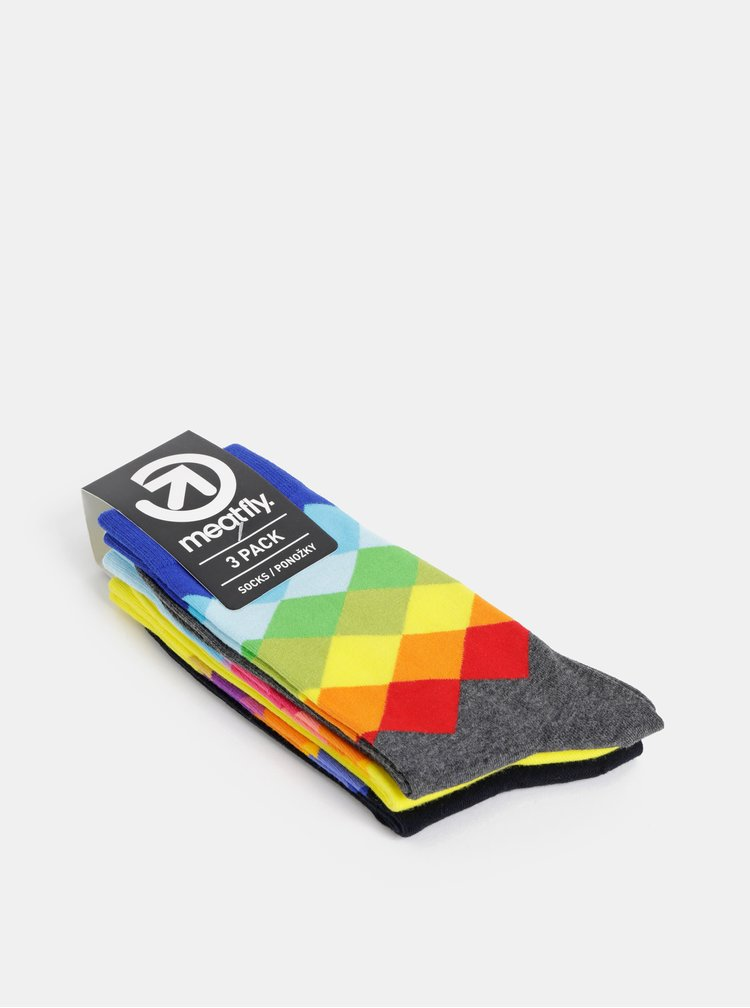 Sada tří párů vzorovaných ponožek ve žluté, modré a černé barvě Meatfly