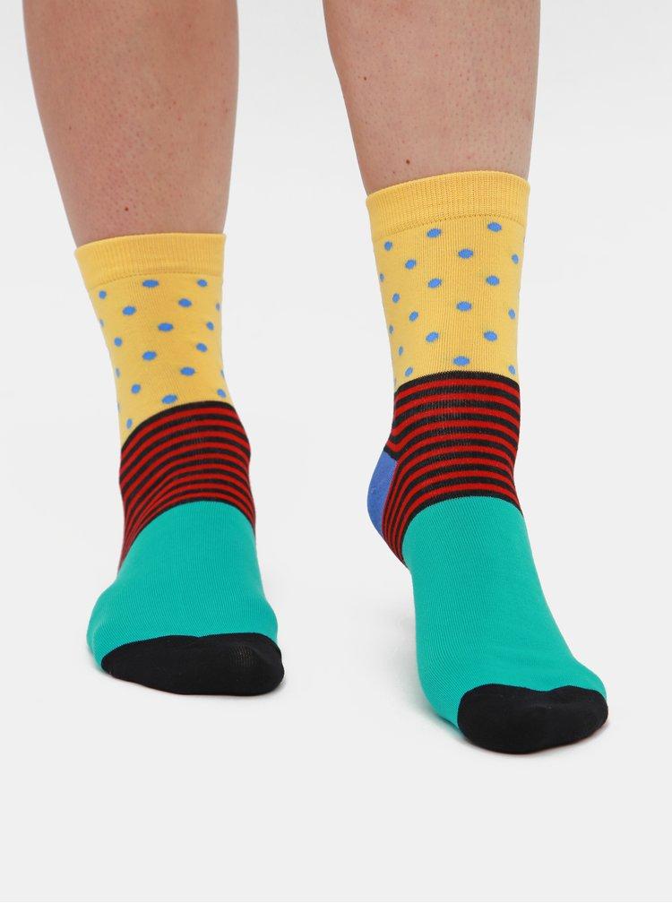 Sada tří párů dámských ponožek v zelené, červené a růžové barvě Meatfly
