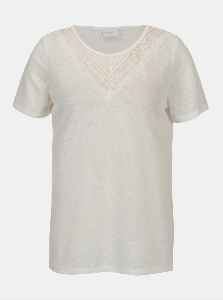 Krémové priesvitné tričko VILA Sumi