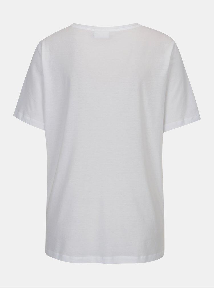 Bílé tričko s chlupatým nápisem VILA Farah
