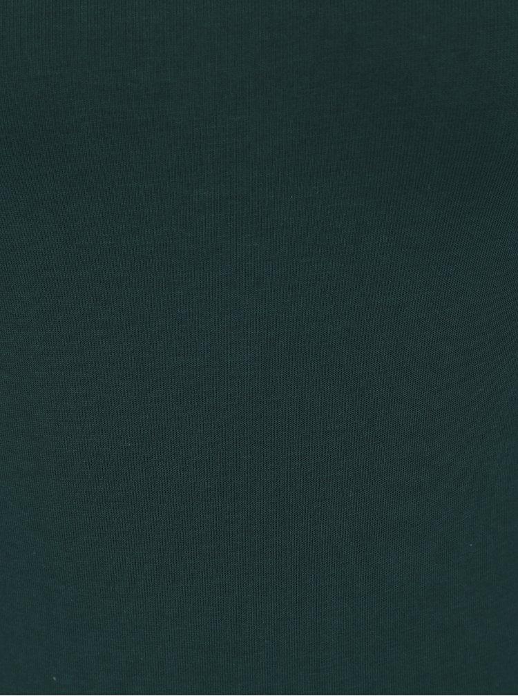 Body cu maneca scurta verde inchis din bumbac - ZOOT