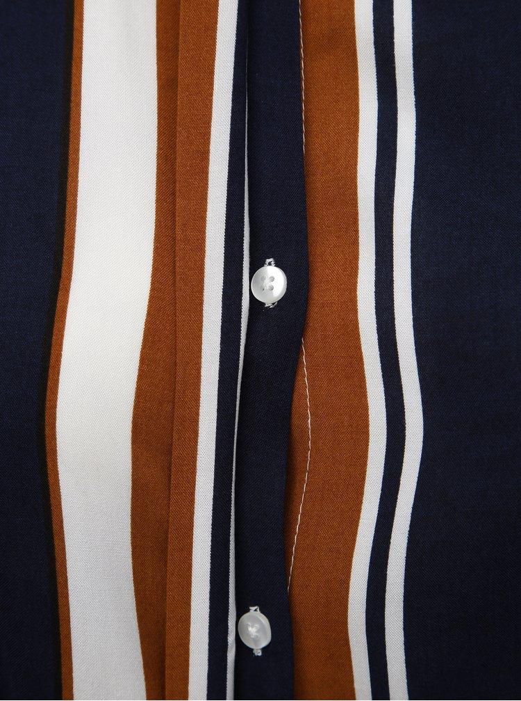 Modro-hnědá pruhovaná halenka ONLY CARMAKOMA VIagusta