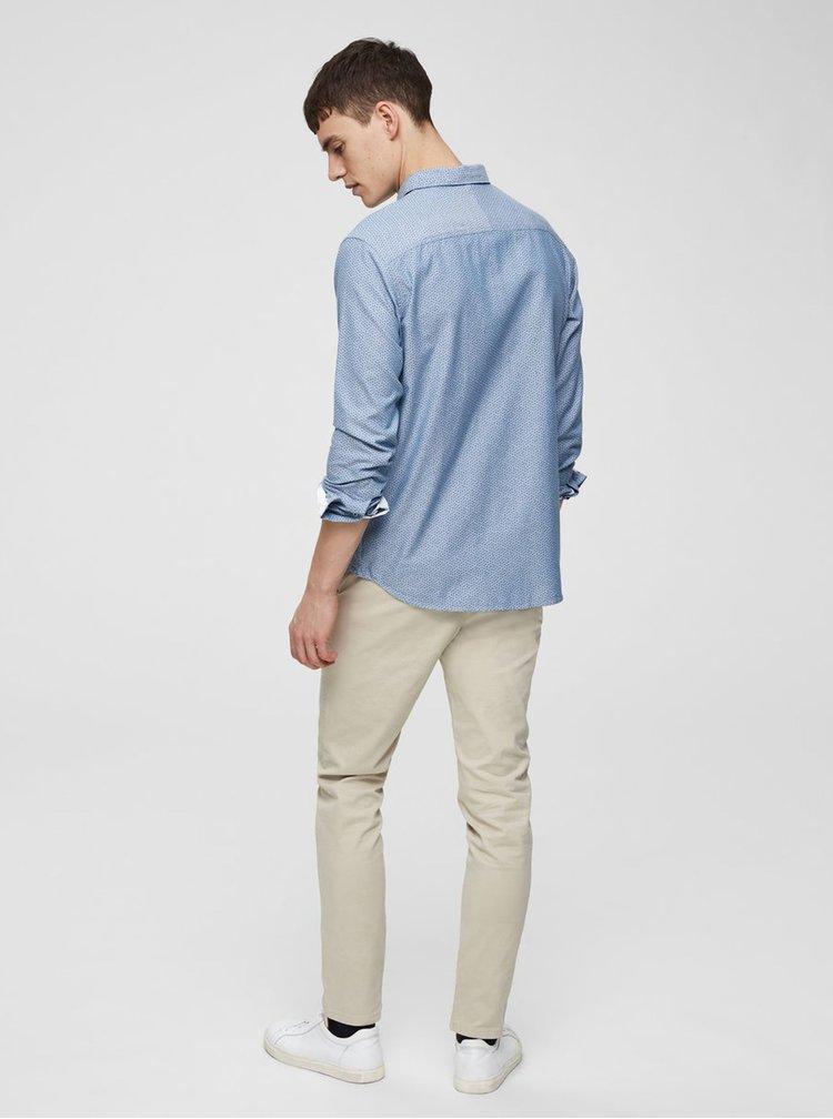 Modrá vzorovaná slim fit košeľa Selected Homme Moonie
