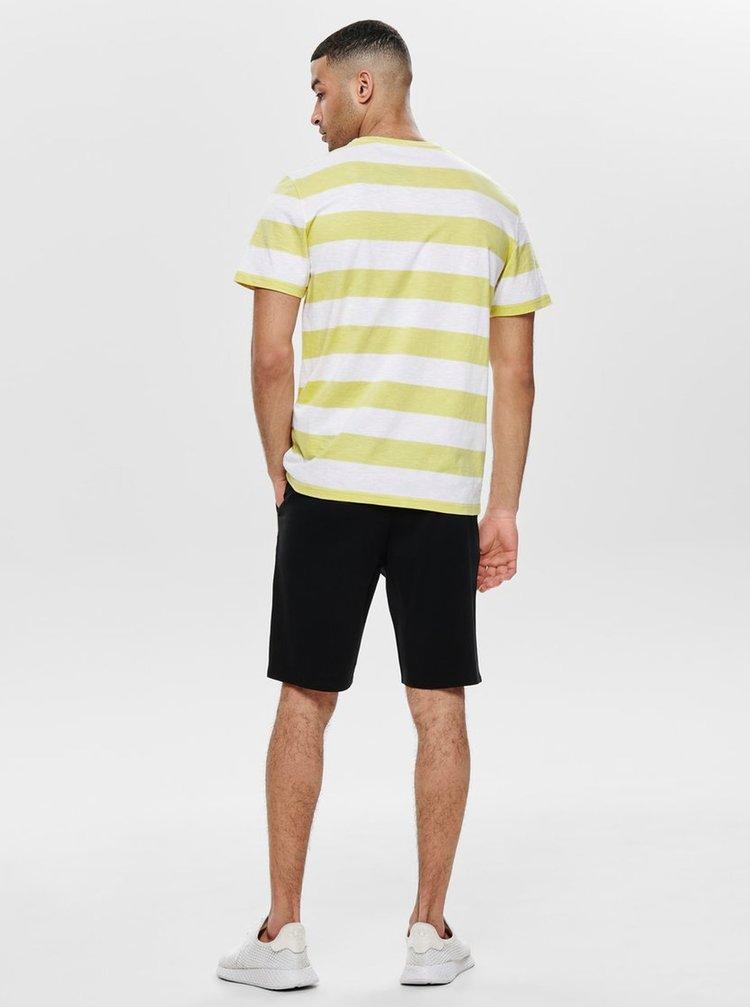 Bílo-žluté pruhované tričko ONLY & SONS Patterson