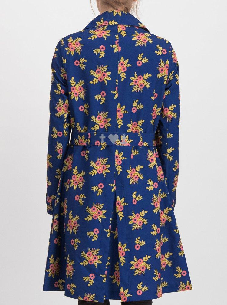 Tmavomodrý kvetovaný ľahký kabát Blutsgeschwister Casablanca Souvenir