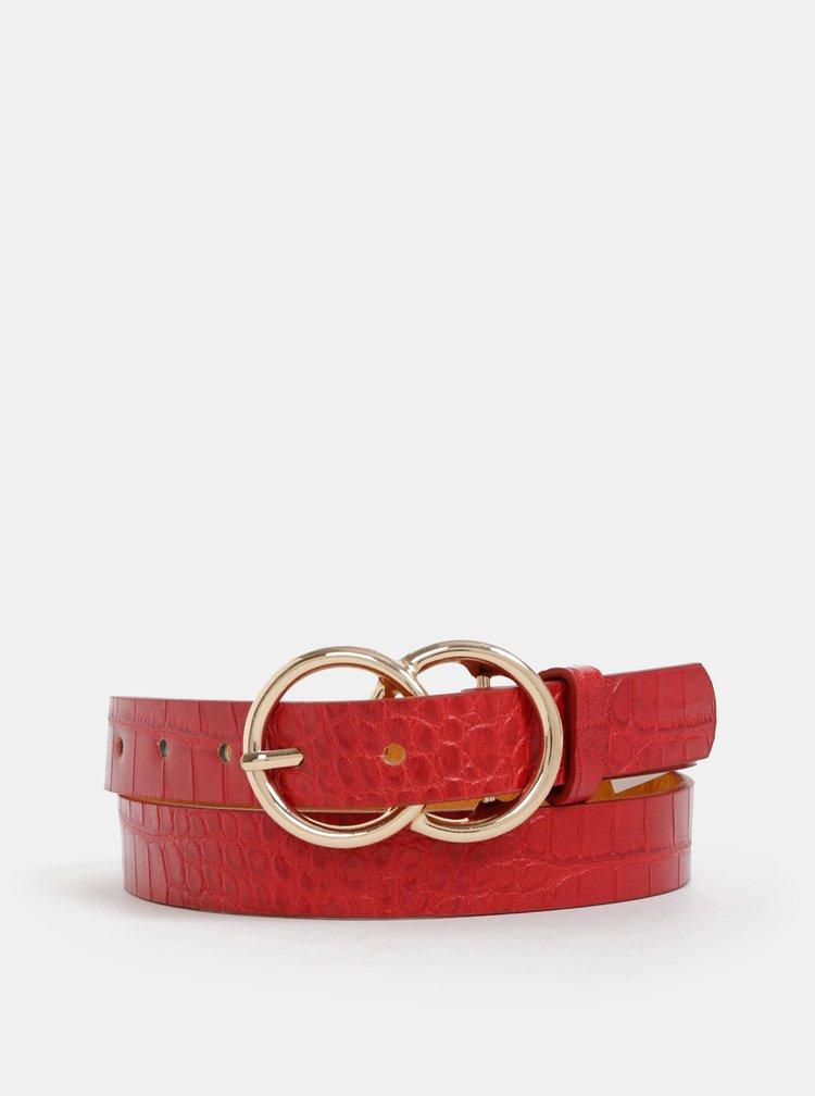 Červený dámský kožený pásek s krokodýlím vzorem Haily´s Joanna
