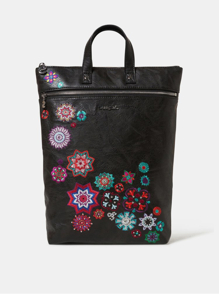 Černý batoh s výšivkami Desigual Nanit Baza