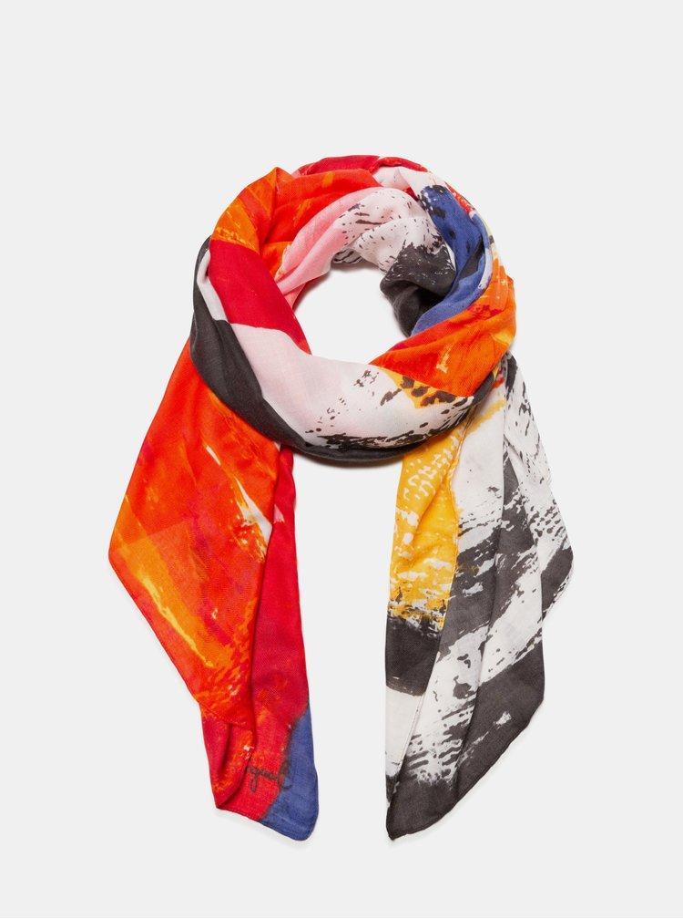 Růžovo-červený šátek Desigual Lander