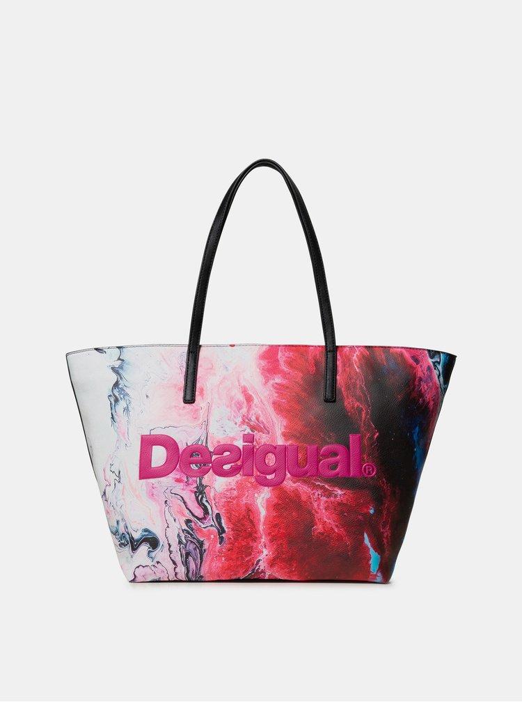 Bielo-ružová vzorovaná kabelka Desigual Sicilia