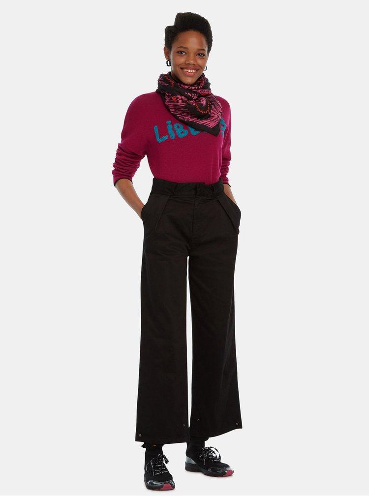 Růžovo-černý šátek Desigual Bandana