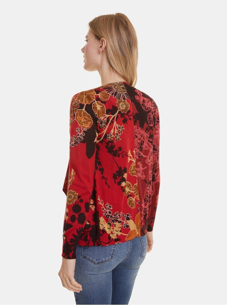 Červený kvetovaný kardigan Desigual Adriana