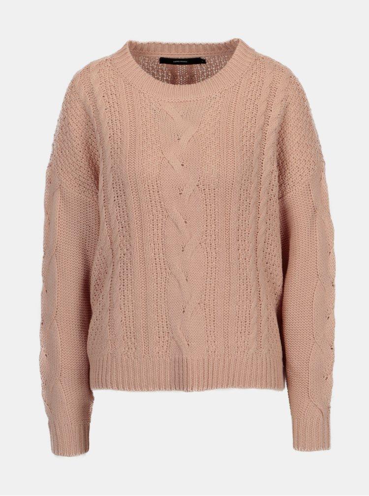 Pulover tricotat roz prafuit cu torsade - VERO MODA Wale