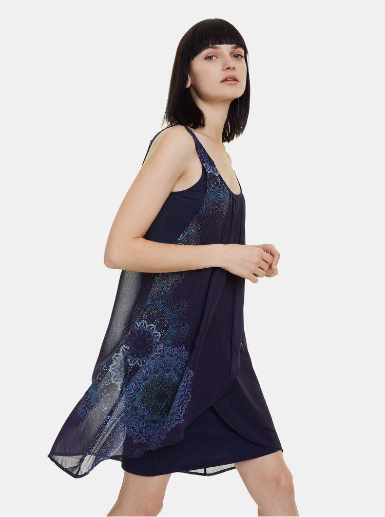 Tmavě modré vzorované šaty Desigual Sevilla