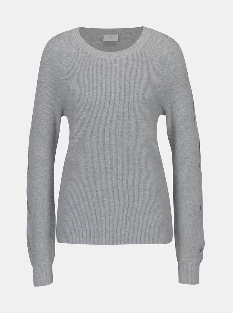 Sivý sveter s prestrihmi na rukávoch VILA Myntani