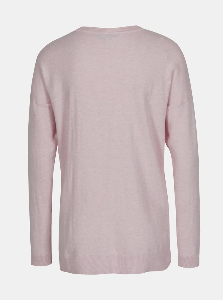 Svetloružový dámsky sveter s rozparkom na boku Tom Joule Sally