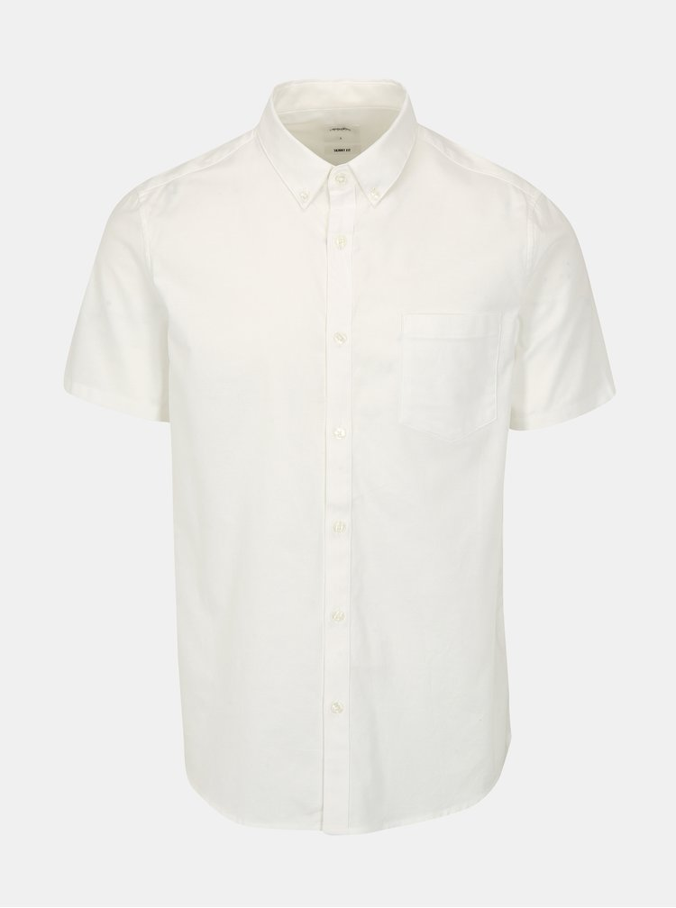 Camasa skinny fit crem cu maneci scurte - Burton Menswear London