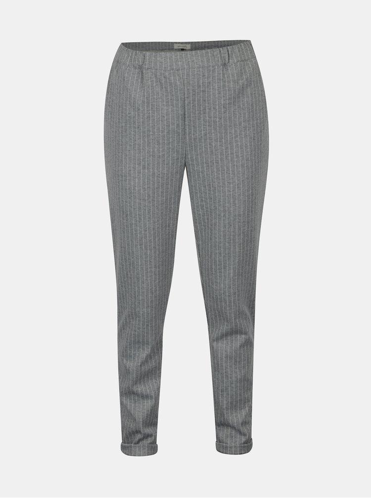 Šedé pruhované kalhoty s kapsami Blendshe Liza