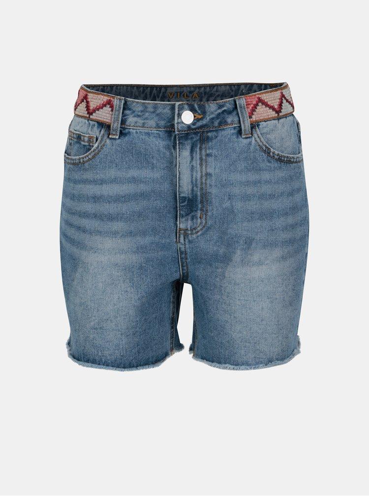 Pantaloni scurti albastri din denim cu broderie - VILA Jules