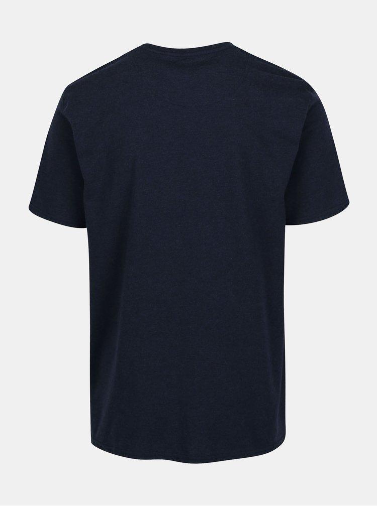 Tmavě modré basic tričko s výšivkou loga Raging Bull