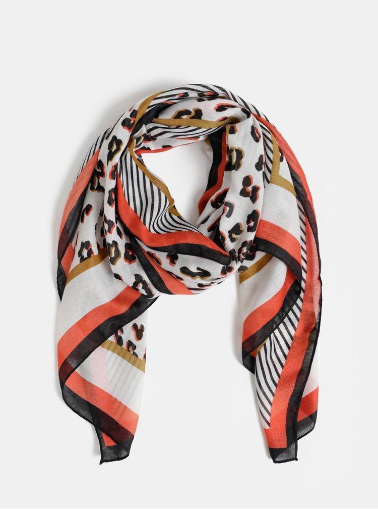 Černo-bílý šátek s leopardím vzorem Dorothy Perkins