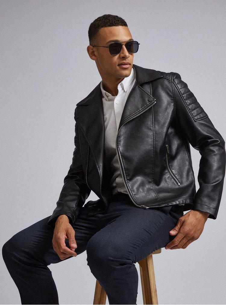 Čierna koženková bunda Burton Menswear London