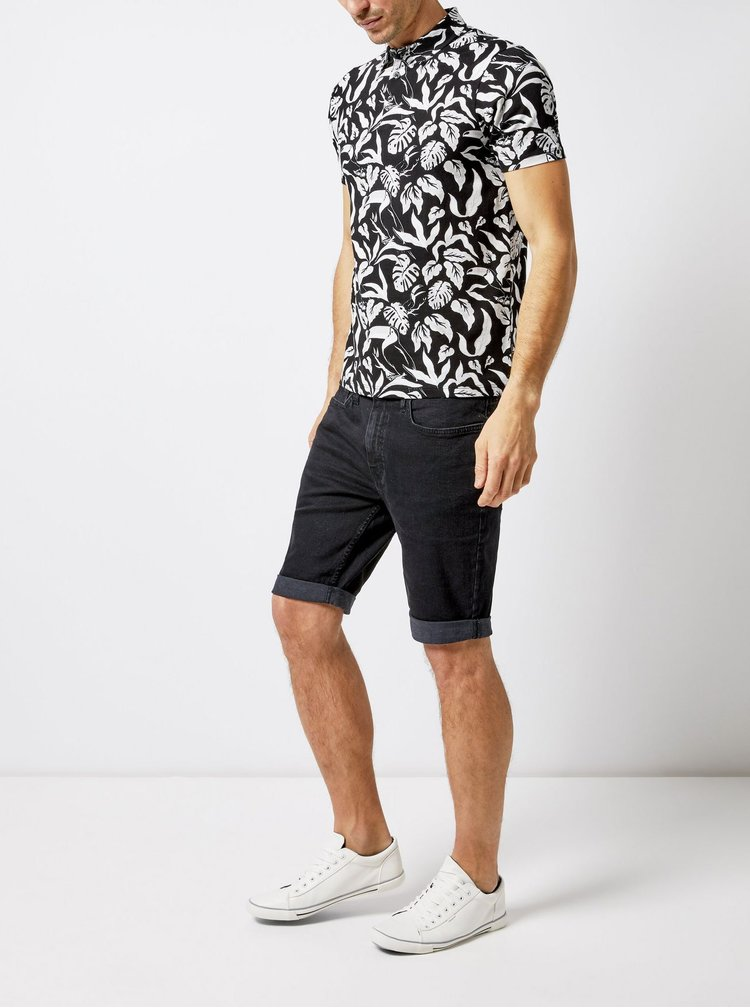 Bílo-černé vzorované polo tričko Burton Menswear London