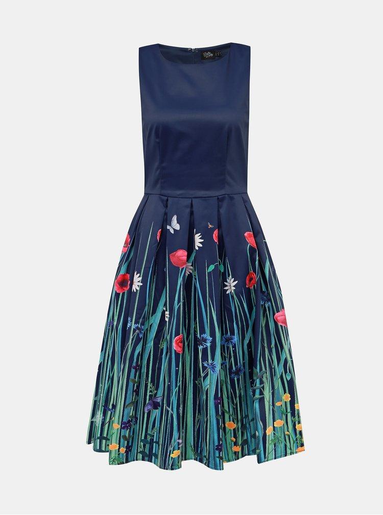 Tmavomodré kvetované šaty Dolly & Dotty Annie