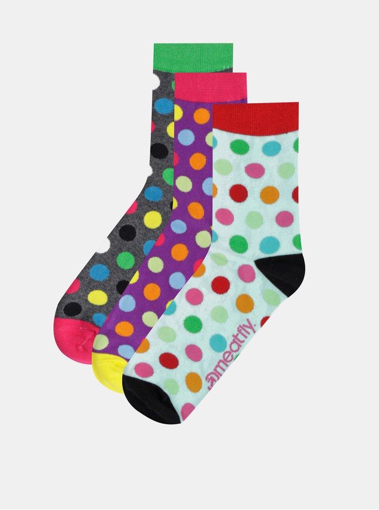 Sada tří párů dámských puntíkovaných ponožek ve světle modré, šedé a fialové barvě Meatfly