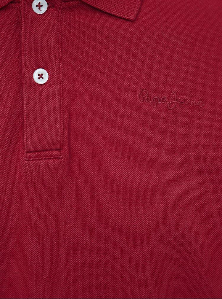 Červená pánska basic slim fit polokošeľa Pepe Jeans Vincent
