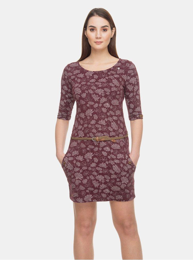 Vínové květované šaty Ragwear Tanya Flowers