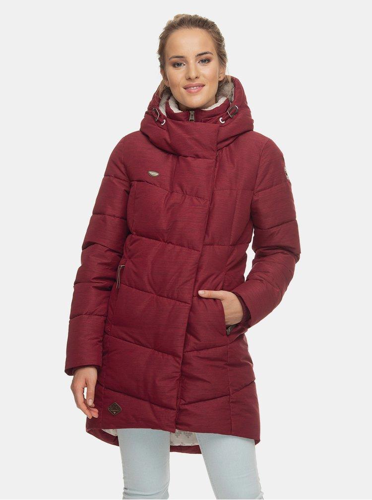 Vínový dámský prošívaný funkční zimní kabát Ragwear Pavla