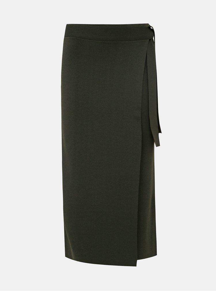 Tmavě zelená midi sukně Selected Femme Malikka