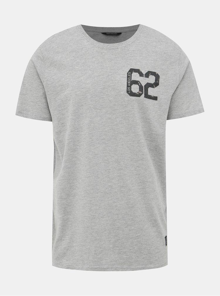 Šedé žíhané tričko s potiskem Shine Original