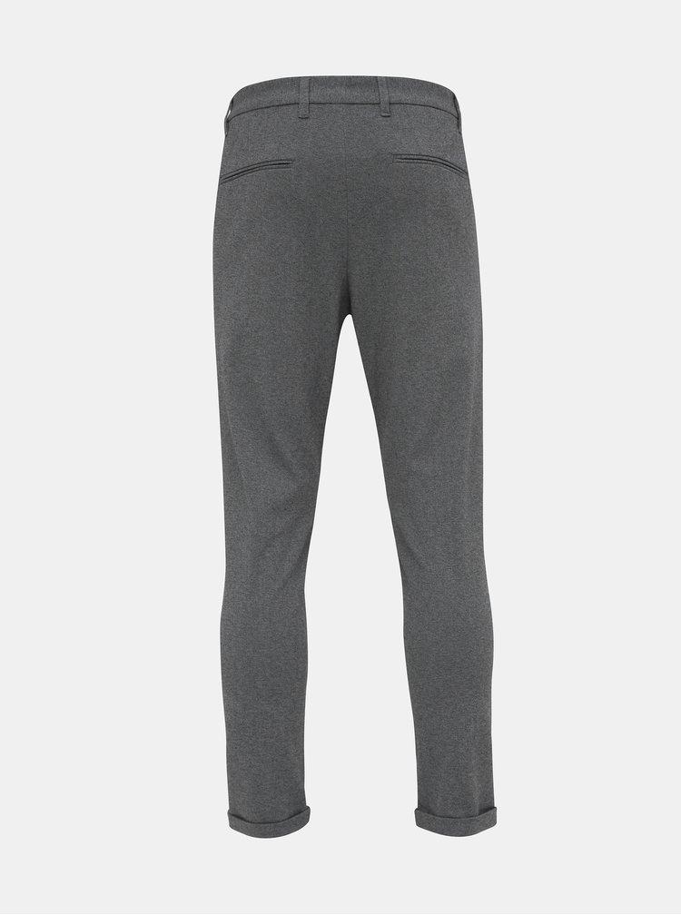 Šedé skrátené chino nohavice Lindbergh