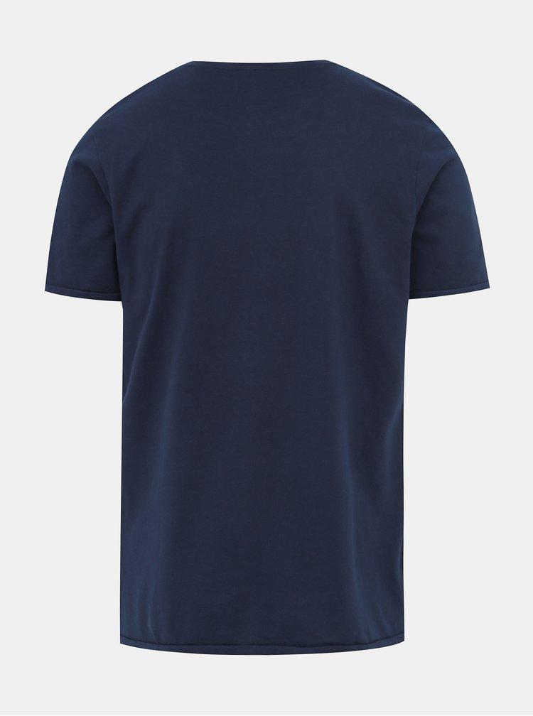Tmavomodré tričko s potlačou Jack & Jones Greg
