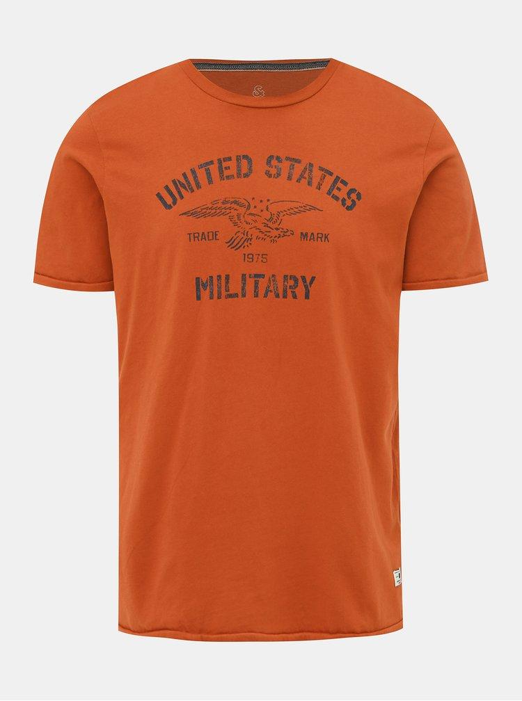 Oranžové tričko s potiskem Jack & Jones Greg